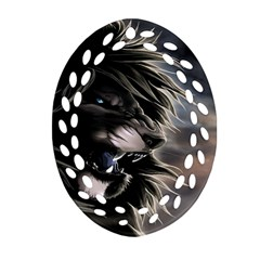 Angry Lion Digital Art Hd Oval Filigree Ornament (two Sides)