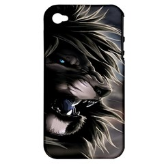 Angry Lion Digital Art Hd Apple Iphone 4/4s Hardshell Case (pc+silicone)