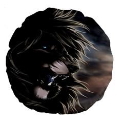 Angry Lion Digital Art Hd Large 18  Premium Round Cushions
