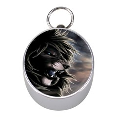 Angry Lion Digital Art Hd Mini Silver Compasses