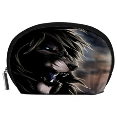 Angry Lion Digital Art Hd Accessory Pouches (large)