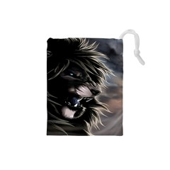 Angry Lion Digital Art Hd Drawstring Pouches (small)