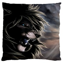 Angry Lion Digital Art Hd Large Flano Cushion Case (two Sides)