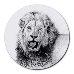 Lion Wildlife Art And Illustration Pencil Round Mousepads