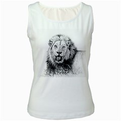 Lion Wildlife Art And Illustration Pencil Women s White Tank Top