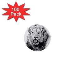 Lion Wildlife Art And Illustration Pencil 1  Mini Buttons (100 Pack)