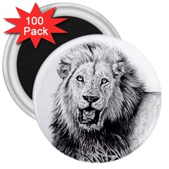 Lion Wildlife Art And Illustration Pencil 3  Magnets (100 Pack) by Nexatart