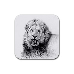Lion Wildlife Art And Illustration Pencil Rubber Square Coaster (4 Pack)
