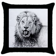 Lion Wildlife Art And Illustration Pencil Throw Pillow Case (black)