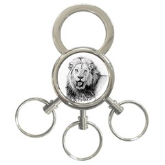 Lion Wildlife Art And Illustration Pencil 3 Ring Key Chains