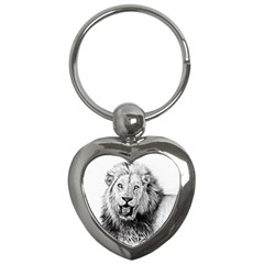 Lion Wildlife Art And Illustration Pencil Key Chains (heart)