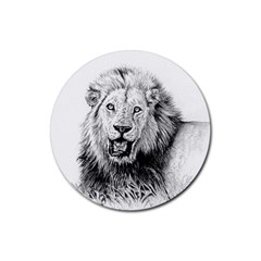Lion Wildlife Art And Illustration Pencil Rubber Round Coaster (4 Pack)