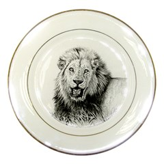 Lion Wildlife Art And Illustration Pencil Porcelain Plates by Nexatart