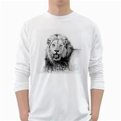 Lion Wildlife Art And Illustration Pencil White Long Sleeve T Shirts
