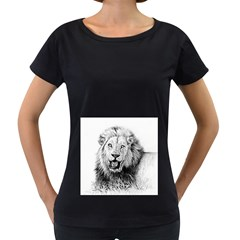 Lion Wildlife Art And Illustration Pencil Women s Loose Fit T Shirt (black) by Nexatart