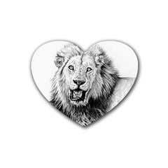 Lion Wildlife Art And Illustration Pencil Heart Coaster (4 Pack)