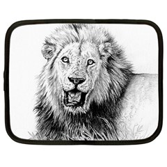 Lion Wildlife Art And Illustration Pencil Netbook Case (large)