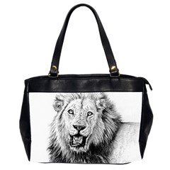 Lion Wildlife Art And Illustration Pencil Office Handbags (2 Sides)  by Nexatart