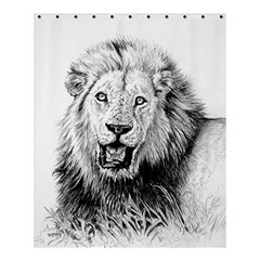 Lion Wildlife Art And Illustration Pencil Shower Curtain 60  X 72  (medium)