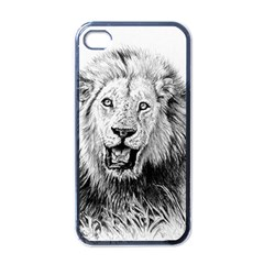 Lion Wildlife Art And Illustration Pencil Apple Iphone 4 Case (black)
