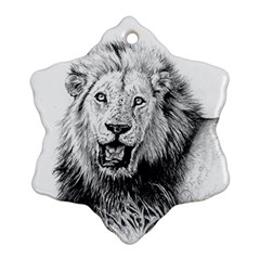 Lion Wildlife Art And Illustration Pencil Ornament (snowflake)