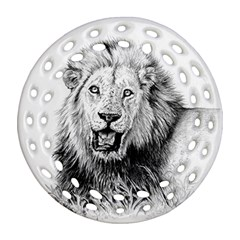 Lion Wildlife Art And Illustration Pencil Round Filigree Ornament (two Sides)
