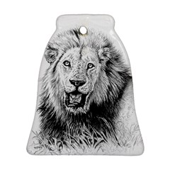 Lion Wildlife Art And Illustration Pencil Bell Ornament (two Sides)