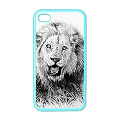 Lion Wildlife Art And Illustration Pencil Apple Iphone 4 Case (color)