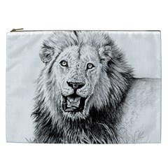 Lion Wildlife Art And Illustration Pencil Cosmetic Bag (xxl)