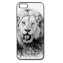Lion Wildlife Art And Illustration Pencil Apple Iphone 5 Seamless Case (black)