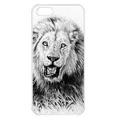 Lion Wildlife Art And Illustration Pencil Apple Iphone 5 Seamless Case (white)