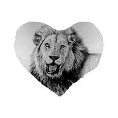 Lion Wildlife Art And Illustration Pencil Standard 16  Premium Heart Shape Cushions
