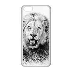 Lion Wildlife Art And Illustration Pencil Apple Iphone 5c Seamless Case (white)