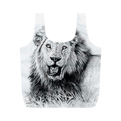 Lion Wildlife Art And Illustration Pencil Full Print Recycle Bags (m)