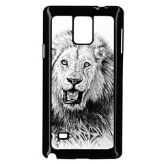 Lion Wildlife Art And Illustration Pencil Samsung Galaxy Note 4 Case (black)