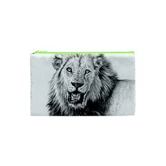 Lion Wildlife Art And Illustration Pencil Cosmetic Bag (xs)