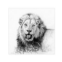 Lion Wildlife Art And Illustration Pencil Small Satin Scarf (square)