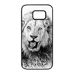Lion Wildlife Art And Illustration Pencil Samsung Galaxy S7 Edge Black Seamless Case