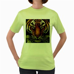 The Tiger Face Women s Green T Shirt
