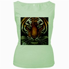 The Tiger Face Women s Green Tank Top