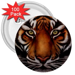 The Tiger Face 3  Buttons (100 Pack)