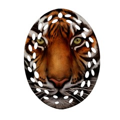 The Tiger Face Oval Filigree Ornament (two Sides)