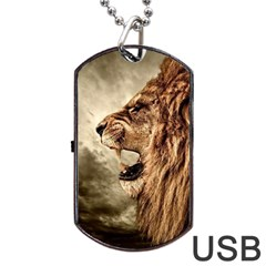 Roaring Lion Dog Tag Usb Flash (one Side)