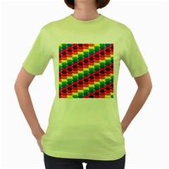 Rainbow 3d Cubes Red Orange Women s Green T Shirt