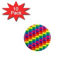 Rainbow 3d Cubes Red Orange 1  Mini Magnet (10 Pack)