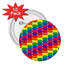 Rainbow 3d Cubes Red Orange 2 25  Buttons (10 Pack)