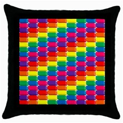 Rainbow 3d Cubes Red Orange Throw Pillow Case (black)