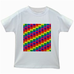 Rainbow 3d Cubes Red Orange Kids White T Shirts