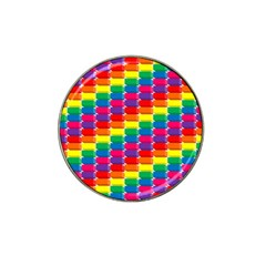 Rainbow 3d Cubes Red Orange Hat Clip Ball Marker (4 Pack)