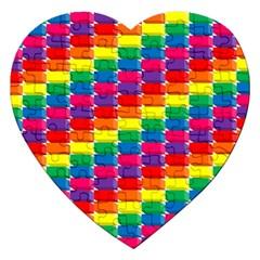 Rainbow 3d Cubes Red Orange Jigsaw Puzzle (heart)
